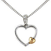 Silver and 9ct Rose Gold Cubic Zirconia Set Pendant with Chain