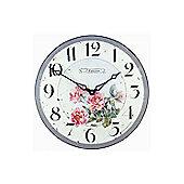 Roger Lascelles Clocks Pink Roses Wall Clock