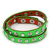 Neon Green Leather Crystal and Spike Studded Wrap Bracelet - Adjustable (One Size Fits All)