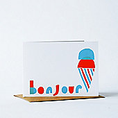 Yellow Owl Workshop Card - Bonjour