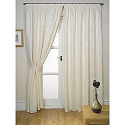 Milano Natural Lined Pencil Pleat Curtains & Tiebacks - 66x90