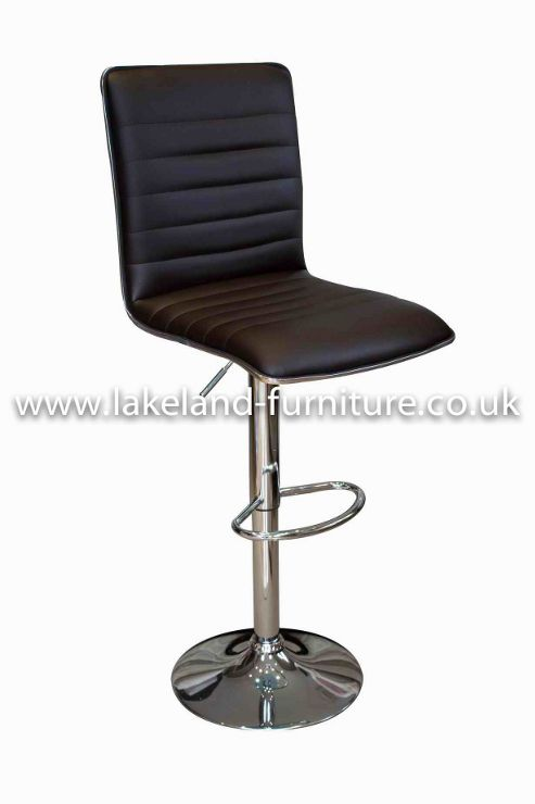 Aegean Black Faux Leather Bar Stool