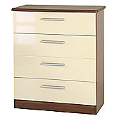 Welcome Furniture Knightsbridge 4 Drawer Chest - Oak - Cream