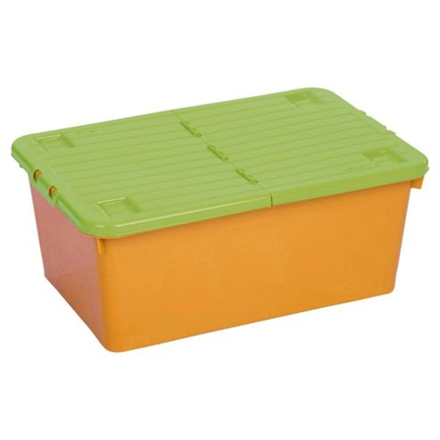 Wham 45 Litre Wheeled Box And Split Lid Orange/Lime