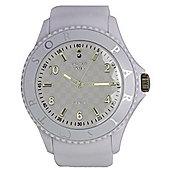 Tresor Paris Watch 018787 - Stainless Steel Bezel - Silicone Strap - Diamond Set Dial - 44mm - White