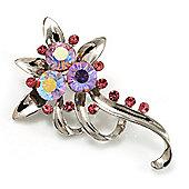 Pink Crystal Floral Brooch (Silver Tone)
