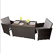 2 Seater Rattan Cube Set With Plaswood Top & Cushions