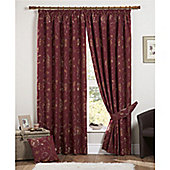 Curtina Maybury 3 Pencil Pleat Lined Curtains 90x90 inches (228x228cm) - Claret