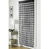 Country Club Retro Chic String Door Curtain 90 x 200cm, Jacquard Black