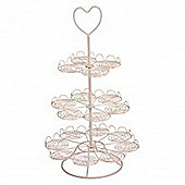 Heart- 3 Tier Metal Cupcake / Muffin Cake Stand - Cream