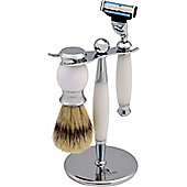 Nicholas Winter 3 Piece White / Silver Shaving Set In Stand. Mach 3 Compatible