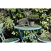 Grey Sitting Dog Rattan Outdoor Garden Planter Pot