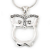 Rhodium Plated Crystal Owl Pendant With Snake Chain - 36cm Lenght