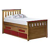 Captains Bergamo Guest Bed 3ft Antique With Red Details