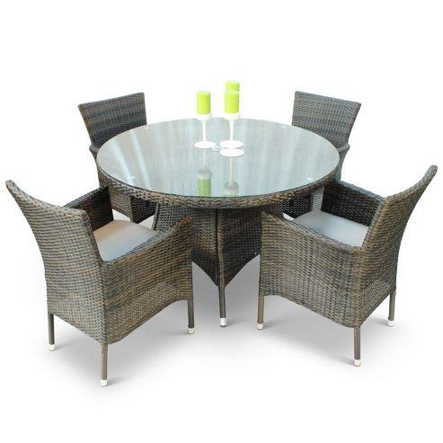 Buy BrackenStyle Leonardo Rattan Dining Set With Glass Top Table Seats 4 Fr