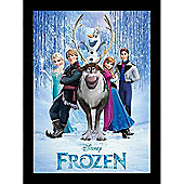 Disney Frozen, Large Framed Poster, Main Cast in Black Frame