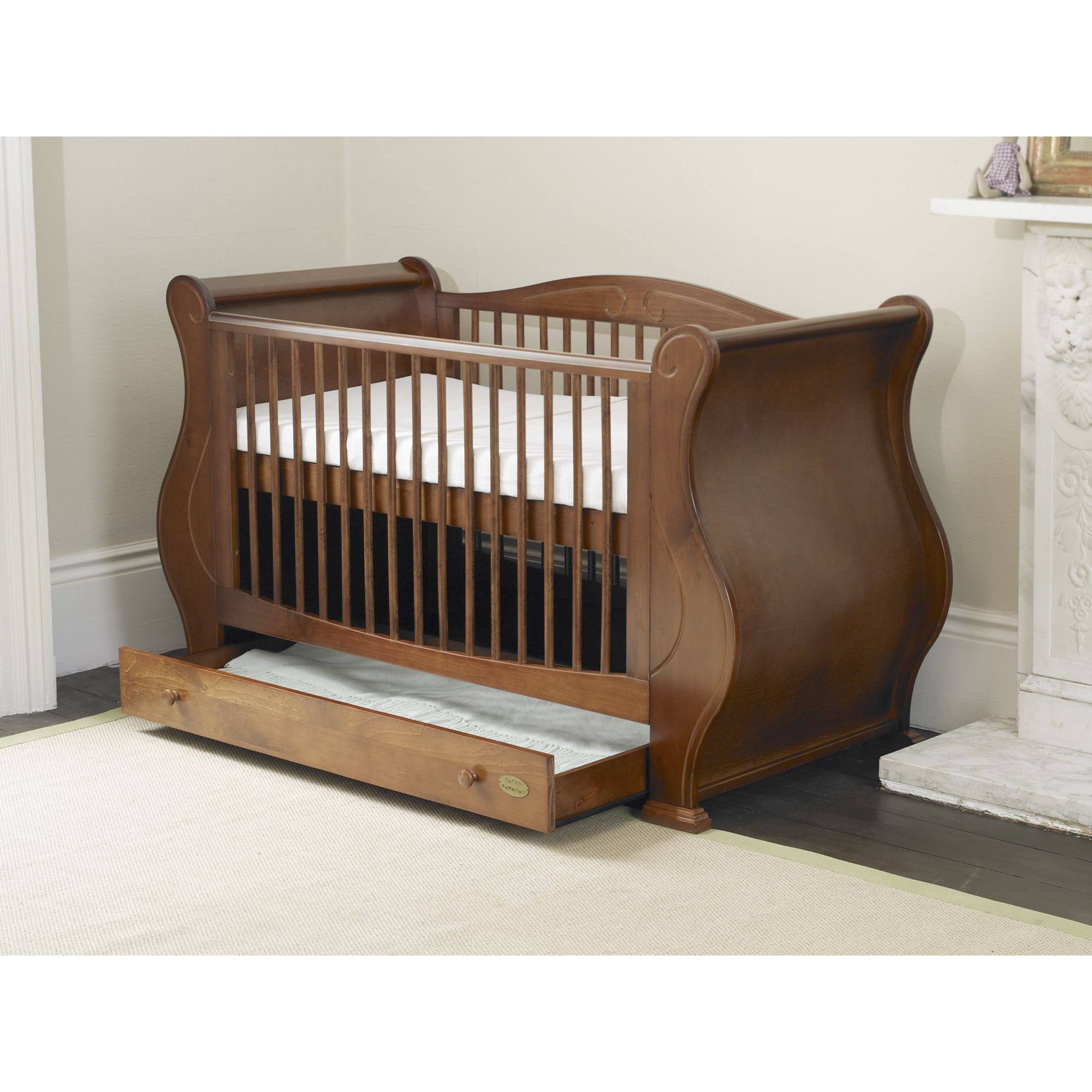 Tutti Bambini Louis Sleigh Cot Bed with Drawer in Walnut at Tesco Direct