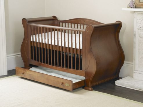 Tutti Bambini Louis Sleigh Cot Bed with Drawer in Walnut