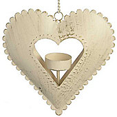 Frenche - Metal Hanging Heart Tea Light Holder - Antique Cream