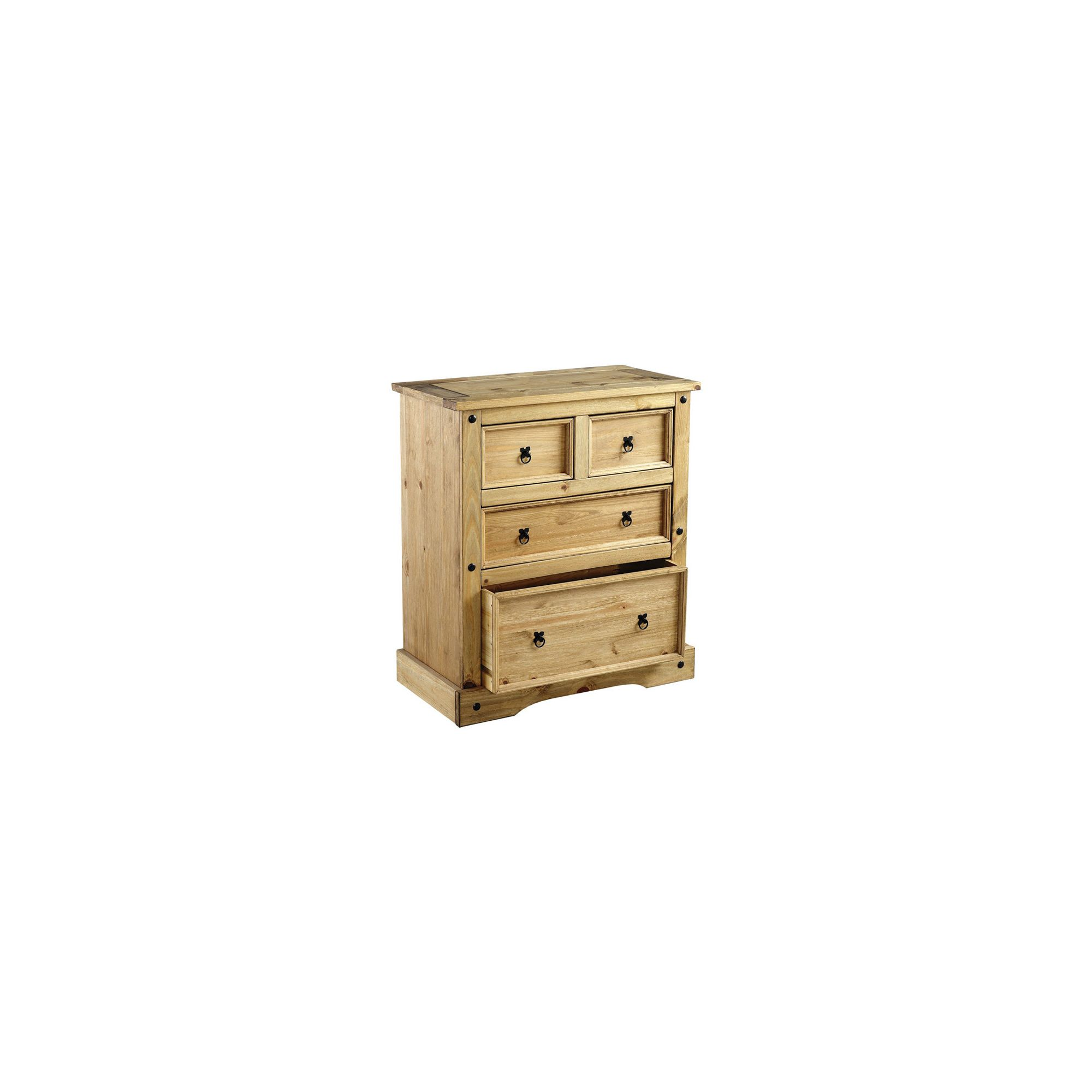 Home Essence Corona 2+2 Drawer Chest in Distressed Waxed Pine at Tesco Direct