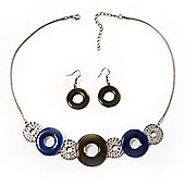 Bold Circle&Disk Enamel Necklace&Earring Set (Blue&Olive)