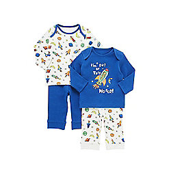 F&F 2 Pack of Rocket Pyjamas years 02 - 03 Blue Multi