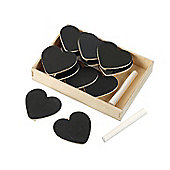 Parlane Set of 12 Heart Shaped Blackboard Clips - Comes Boxed With Chalk
