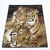 Rugs with Flair Wildlife Tigers Brown Novelty Rug - 160cm x 220cm