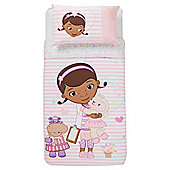 Disney Doc Mcstuffins Stripe Pastel Duvet Set Single