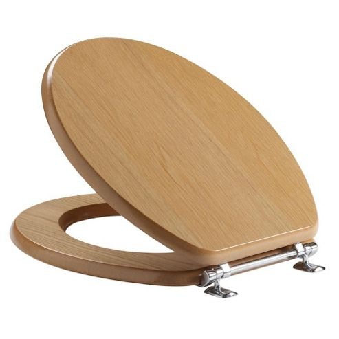 Tavistock Premier NATURAL OAK Wood Veneer Toilet Seat with Bar Hinges and Non-slip Buffers