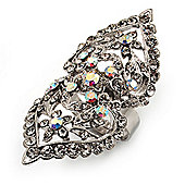 Clear Diamante Victorian Cocktail Ring (Silver Tone)