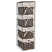 Tesco Wicker Fabric Lined Small Drawer Tower, Grey