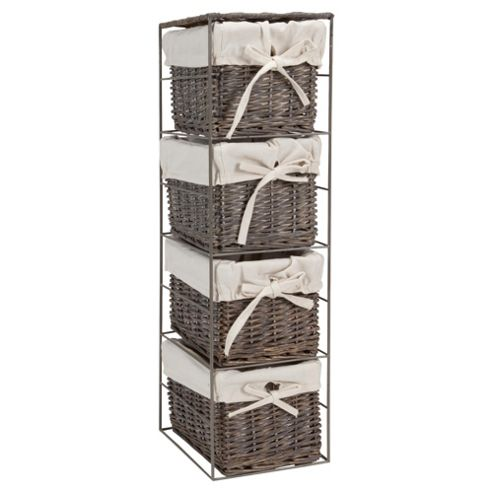 Tesco Grey Wicker Lined Small Drawer Tower
