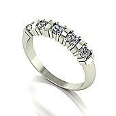 9ct White Gold 5 stone Round Brilliant Moissanite Ring.