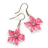 Pink Enamel Daisy Drop Earrings (Silver Tone Metal) - 4cm Length