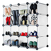 Andrew James Shoe Organiser - 16 Hole Rack in White