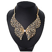 'Butterfly Wings' Peter Pan Collar Necklace In Gold Plating - 38cm Length/ 6cm Extension