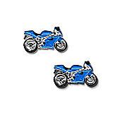 Blue Motorbike Novelty Themed Cufflinks
