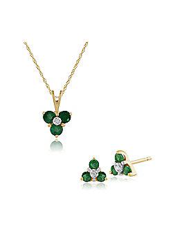 Gemondo 9ct Yellow Gold Emerald & Diamond Floral Cluster Stud Earrings & 45cm Necklace Set