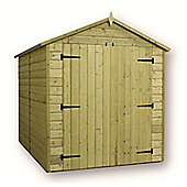 6ft x 6ft Windowless Premier Pressure Treated 6 x 6 T&G Apex Shed + Higher Eaves & Ridge Height + Double Doors