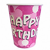 Pink Sparkle Happy Birthday Cups - Pack of 8.