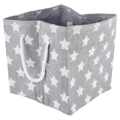 buy tesco star print storage basket grey from our boxes. Black Bedroom Furniture Sets. Home Design Ideas