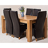 Kuba Chunky Solid Oak 180 cm Dining Table with 6 Lola Leather Dining Chairs (Brown)