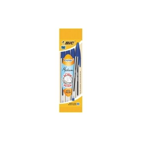 Bic Cristal Medium Ballpoint Pen Blue Pouch of 4 (Contains 40 Pens)