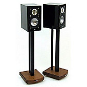 MOSECO 6 Black and Dark Oak Speaker Stands