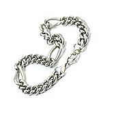 Mens Steel and Silver Matt Dual Link Bracelet