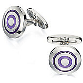 Fred Bennett Purple and Lilac Enamel Round Stainless Steel Cufflinks