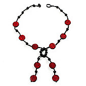 Glass & Shell Bead Tassel Necklace (Black & Burgundy Red)