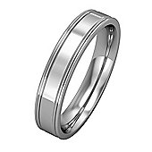 9ct White Gold - 4mm Essential Flat-Court Track Edge Band Commitment / Wedding Ring -
