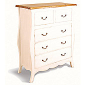 Oceans Apart Painted Provence Five Drawer Chest in Antique White